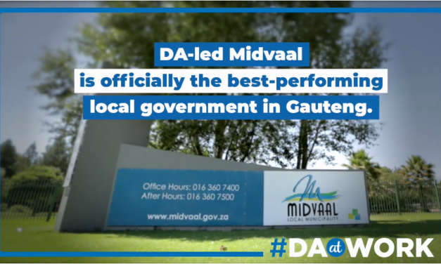 DA-run Midvaal is officially the best performing local government in Gauteng