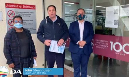 DA-leader John Steenhuisen conducted a fact-finding mission to Stellenbosch University
