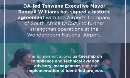 Williams administration signs historic MOU with Airports Company South Africa to advance the operations of Wonderboom National Airport.