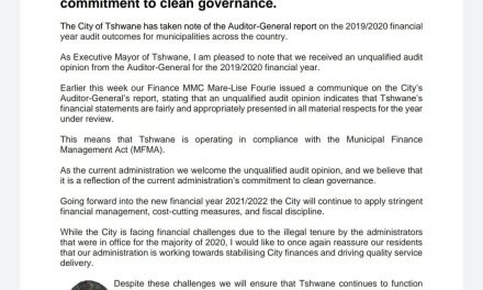 Tshwane's unqualified audit opinion reflects our commitment to clean governance